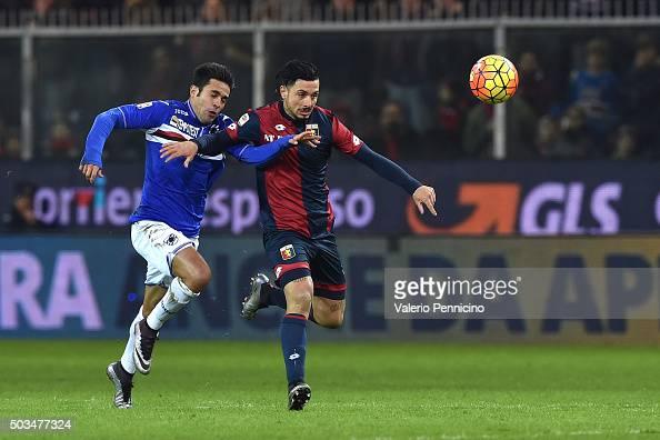 Citadin Martins Eder of UC Sampdoria competes with Armando Izzo of Genoa CFC during the Serie A match between Genoa CFC and UC Sampdoria at Stadio...