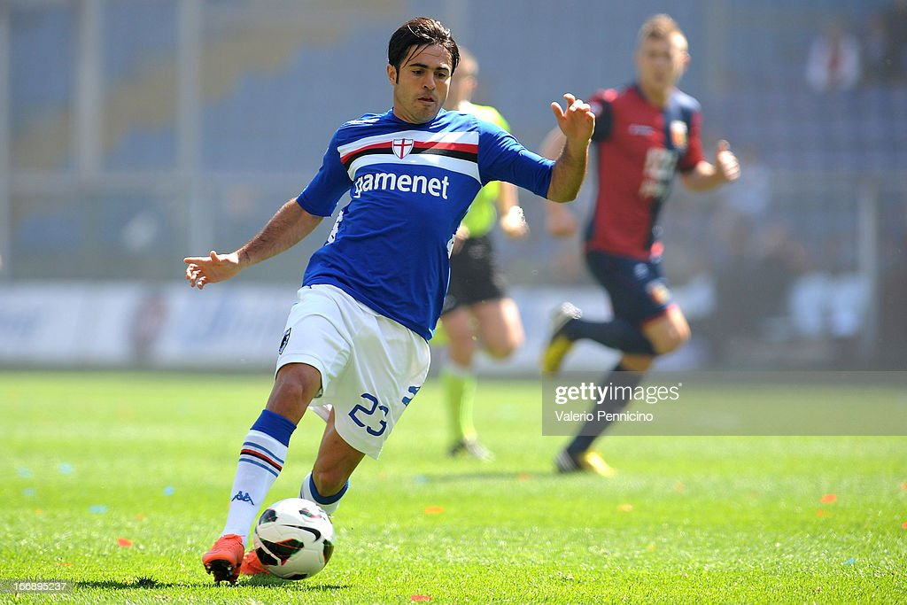 Citadin Martins Eder of UC Sampdoria in action during the Serie A match between Genoa CFC and UC Sampdoria at Stadio Luigi Ferraris on April 14, 2013 in Genova, Italy.