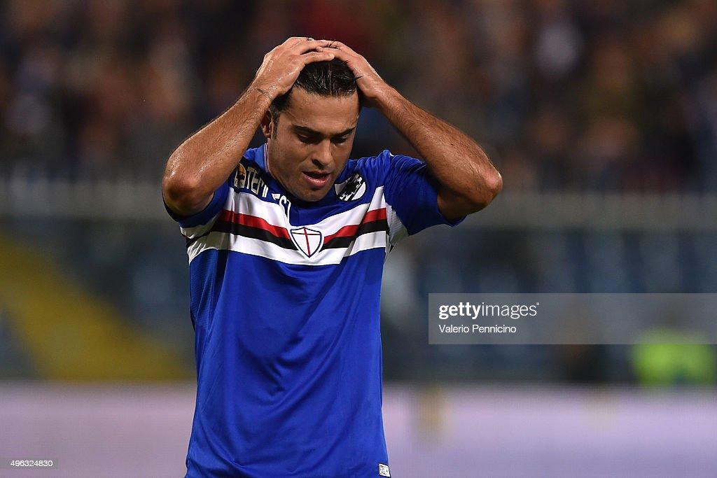 Citadin Martins Eder of UC Sampdoria reacts during the Serie A match between UC Sampdoria and ACF Fiorentina at Stadio Luigi Ferraris on November 8...