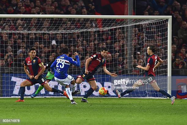 Citadin Martins Eder of UC Sampdoria scores a goal during the Serie A match between Genoa CFC and UC Sampdoria at Stadio Luigi Ferraris on January 5...