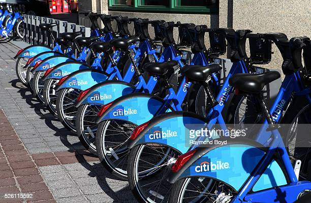 Citi Bike Jersey City bikeshare bicycles sits at Exchange Place along the Hudson River Waterfront Walkway in Jersey City New Jersey on April 15 2016
