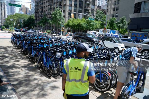 A Citi Bike valet parking area on Broadway at 22nd Street on Wednesday June 28 2017