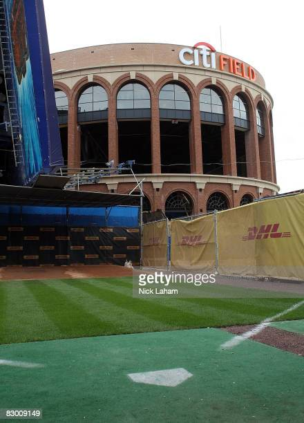 Citi Field is seen from the New York Mets bullpen at Shea Stadium on September 25 2008 in the Flushing neighborhood of the Queens borough of New York...
