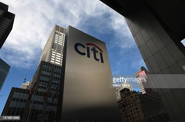 A 'Citi' sign is displayed near Citibank headquarters in Manhattan on December 5 2012 in New York City Citigroup Inc today announced it was laying...