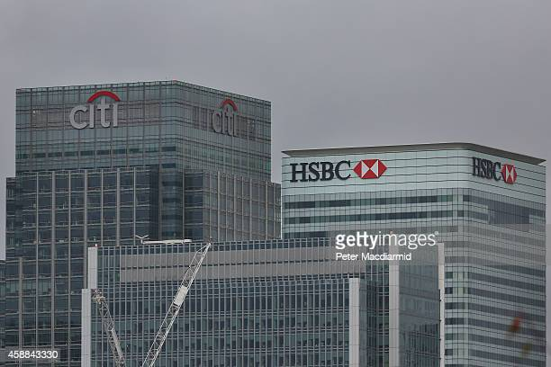 Citibank and HSBC headquarters building at Canary Wharf on November 12 2014 in London England Five banks have been fined £2 billion by financial...