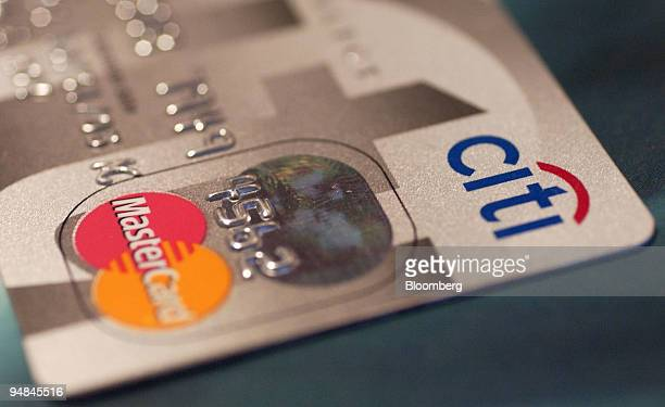Citibank logo is pictured on a credit card in New York on April 15 2004 Citigroup Inc the world's largest financialservices company said earnings...