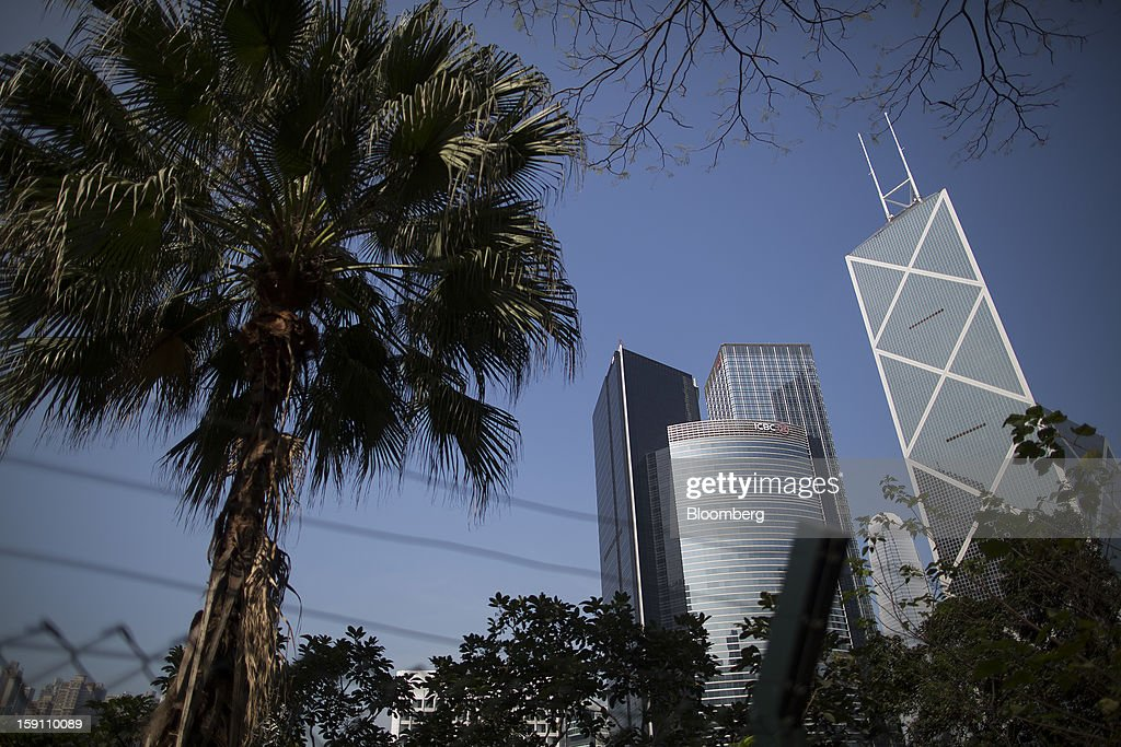 Citibank Tower, from left, ICBC Tower, Cheung Kong Center, and Bank of China Tower stand in the central business district of Hong Kong, China, on Saturday, Jan. 5, 2013. Hong Kong topped the ranks as the most expensive office market by total occupancy cost, according to a report by CBRE Research released on Jan. 7. Photographer: Jerome Favre/Bloomberg via Getty Images