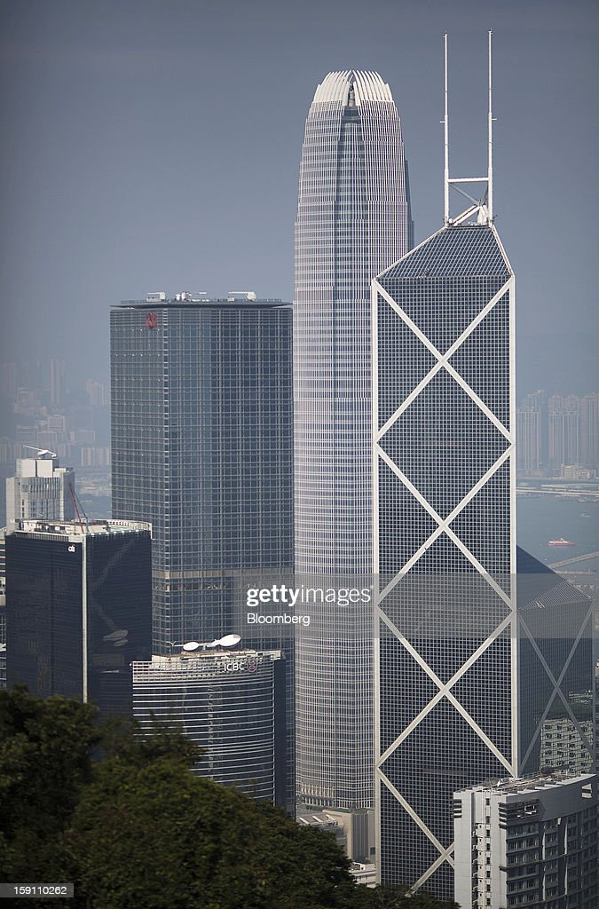 Citibank Tower, from left, ICBC Tower, Cheung Kong Center, Two International Finance Center (IFC) and Bank of China Tower stand in the central business district of Hong Kong, China, on Saturday, Jan. 5, 2013. Hong Kong topped the ranks as the most expensive office market by total occupancy cost, according to a report by CBRE Research released on Jan. 7. Photographer: Jerome Favre/Bloomberg via Getty Images