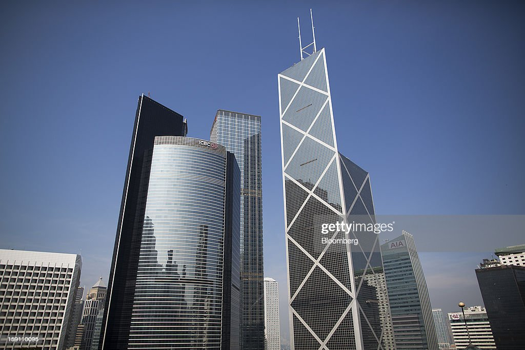 Citibank Tower, from second left, ICBC Tower, Cheung Kong Center, Bank of China Tower and the AIA Central building stand in the central business district of Hong Kong, China, on Saturday, Jan. 5, 2013. Hong Kong topped the ranks as the most expensive office market by total occupancy cost, according to a report by CBRE Research released on Jan. 7. Photographer: Jerome Favre/Bloomberg via Getty Images