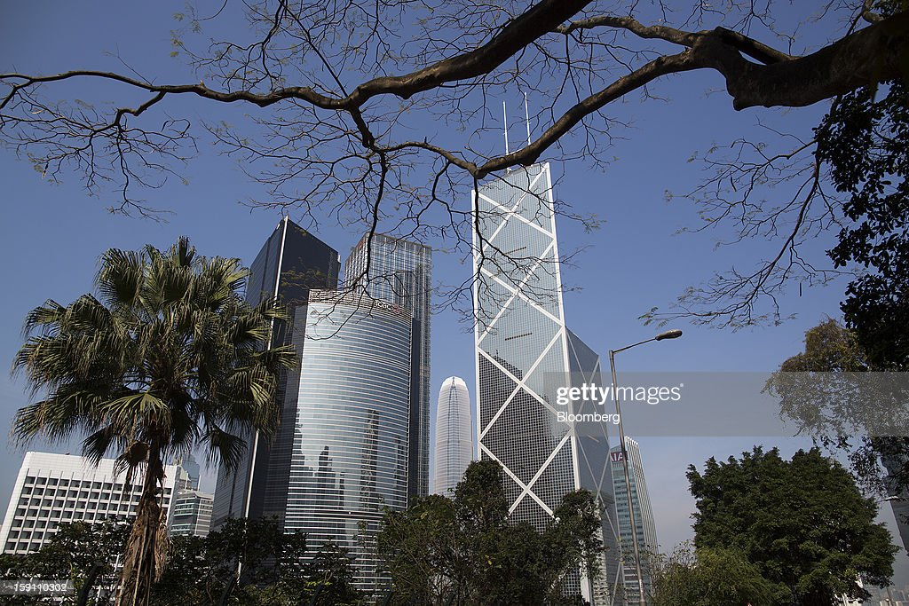 Citibank Tower, from second left, ICBC Tower, Cheung Kong Center, Two International Finance Center (IFC), Bank of China Tower and the AIA Central building stand in the central business district of Hong Kong, China, on Saturday, Jan. 5, 2013. Hong Kong topped the ranks as the most expensive office market by total occupancy cost, according to a report by CBRE Research released on Jan. 7. Photographer: Jerome Favre/Bloomberg via Getty Images