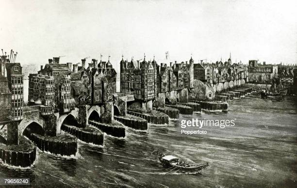 circa 1660 Old London Bridge and the River Thames before the Great Fire of London