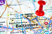 US cities on map series: Baltimore, Maryland