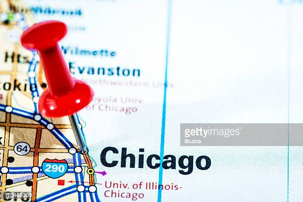 US cities on map series: Chicago, Illinois