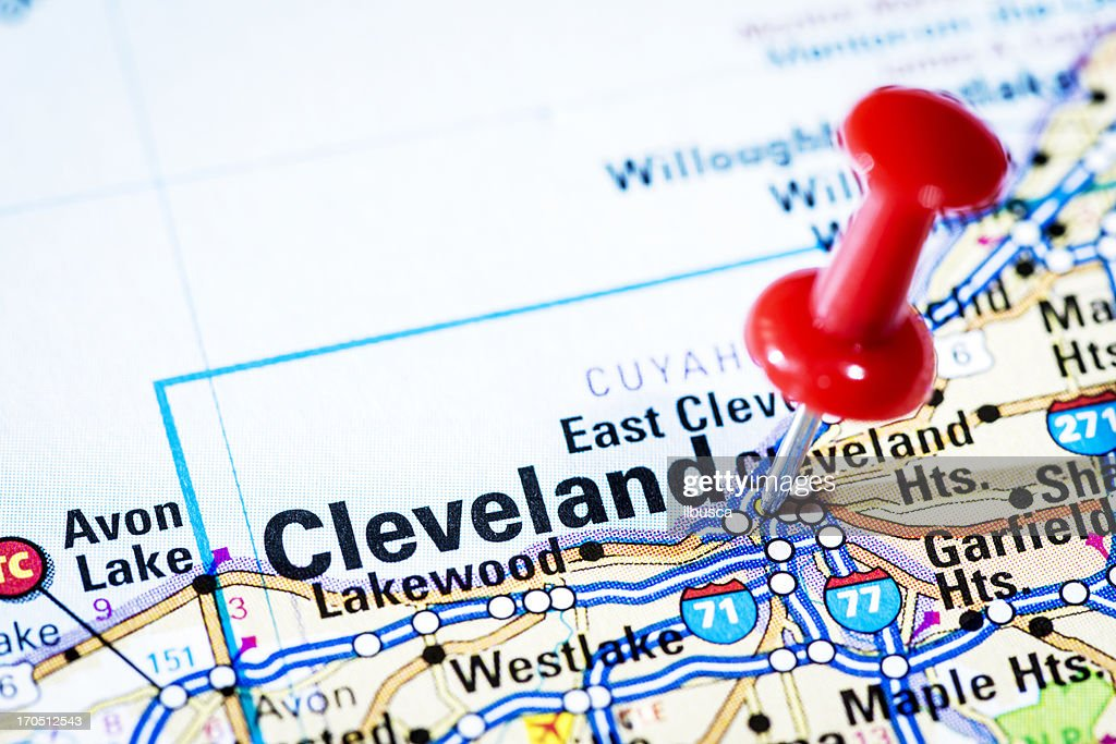 Us Cities On Map Series Cleveland Ohio Stock Photo Getty Images - Cleveland on us map