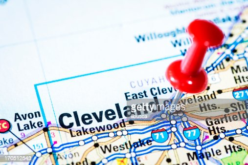 US cities on map series: Cleveland, Ohio