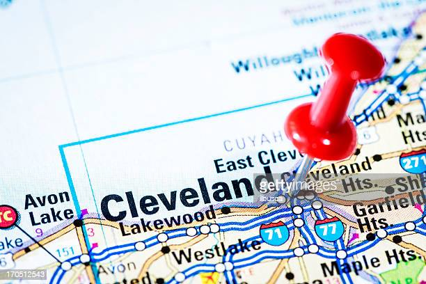 US cities on map series  Cleveland  Ohio. Cleveland Ohio Stock Photos and Pictures   Getty Images