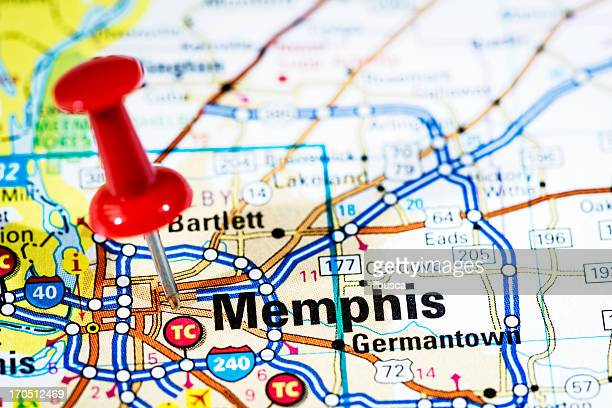 US cities on map series: Memphis, Tennessee