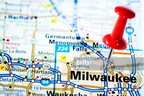 US cities on map series: Milwaukee, Wisconsin
