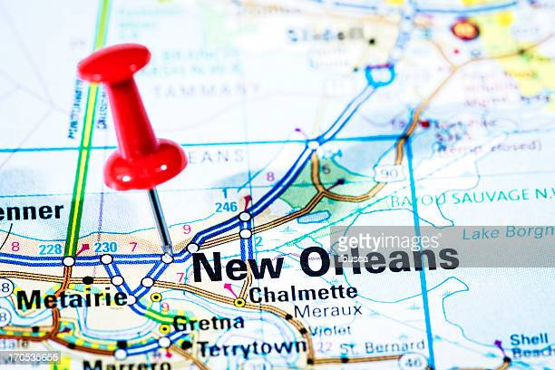 US cities on map series: New Orleans, Louisiana