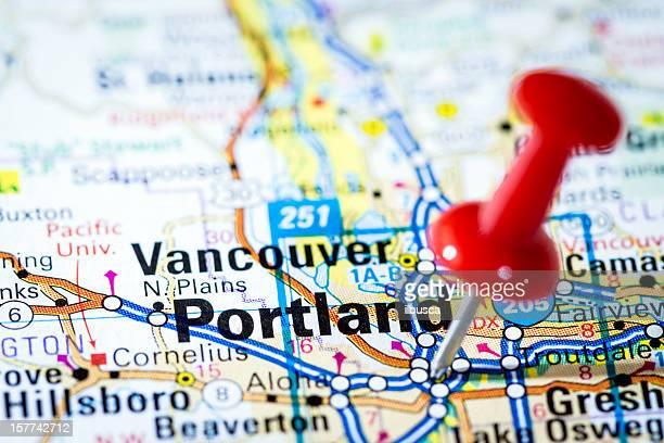 US cities on map series: Portland, Oregon