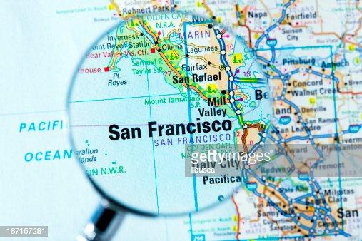 us cities on map series san francisco california stock photo