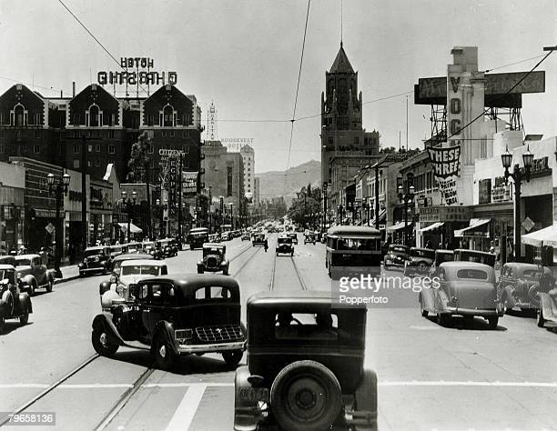 circa 1930's A busy scene in Hollywood Boulevard Hollywood Los Angeles California