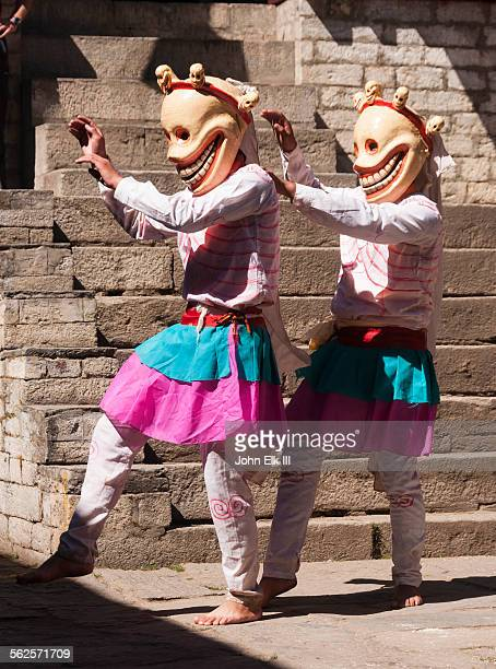 Citipati skull masked temple dancers