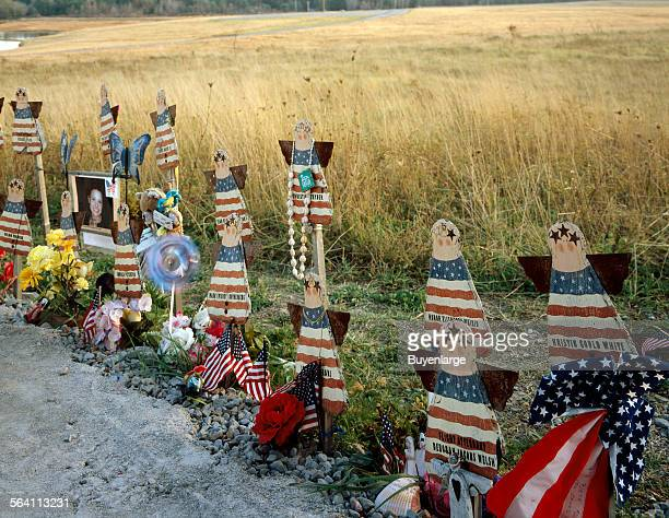 Citizen artwork at an informal memorial to the victims who died on United flight 93 when they attempted to overpower hijackers during the terrorist...