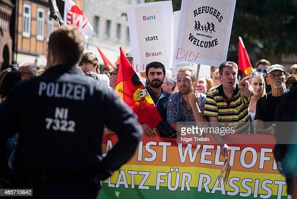 Citizen of the central German town of Goslar attend a counterdemonstration against outoftown neoNazis who had come to protest against mayor Oliver...