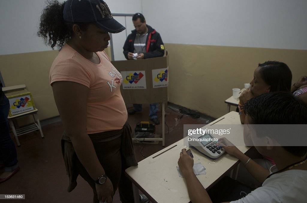 A citizen of Venezuela votes for President on October 07, 2012 in Caracas, Venezuela. Hugo Chavez seeks reelection against the candidate of the MUD party, Henrique Capriles.