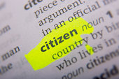 Citizen printed and defined in the English dictionary