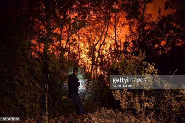 A citizen work to extinguish a vast fire in Sila in Calabria southern Italy