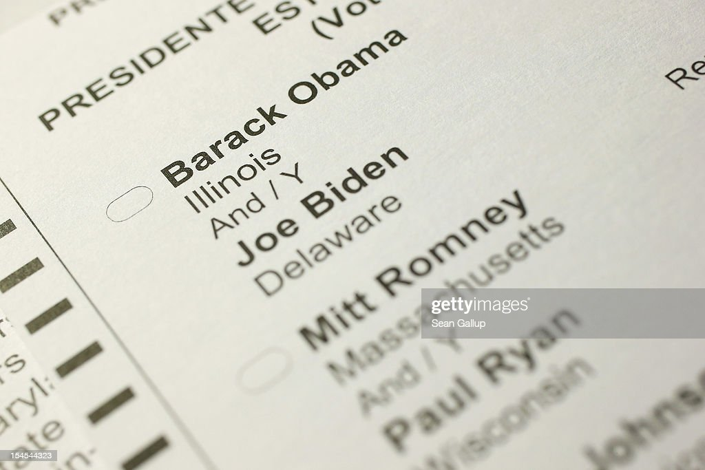 S. citizen's 2012 United States presidential election absentee ballot shows the names of candidates Barack Obama and Mitt Romney on October 22, 2012 in Berlin, Germany. Early voting is already well underway in the elections that are officially scheduled for November 6.