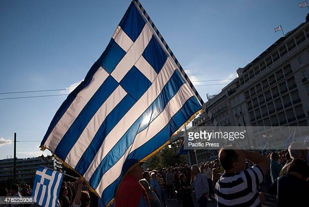 PARLIAMENT ATHENS ATTIKA GREECE Citizens and some members of the political party 'New Democracy' gathered today in front of the Greek parliament for...