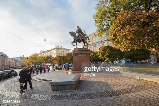 Citizens and tourists in the square. Lviv, Ukraine : Stock Photo
