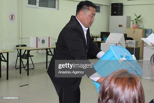 Citizens are seen during the parliamentary (State Great Khural) elections at a polling station in Ulaanbaatar, Mongolia on June 29, 2016.