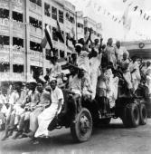 Citizens celebrate India's independence from British rule in the streets of Calcutta