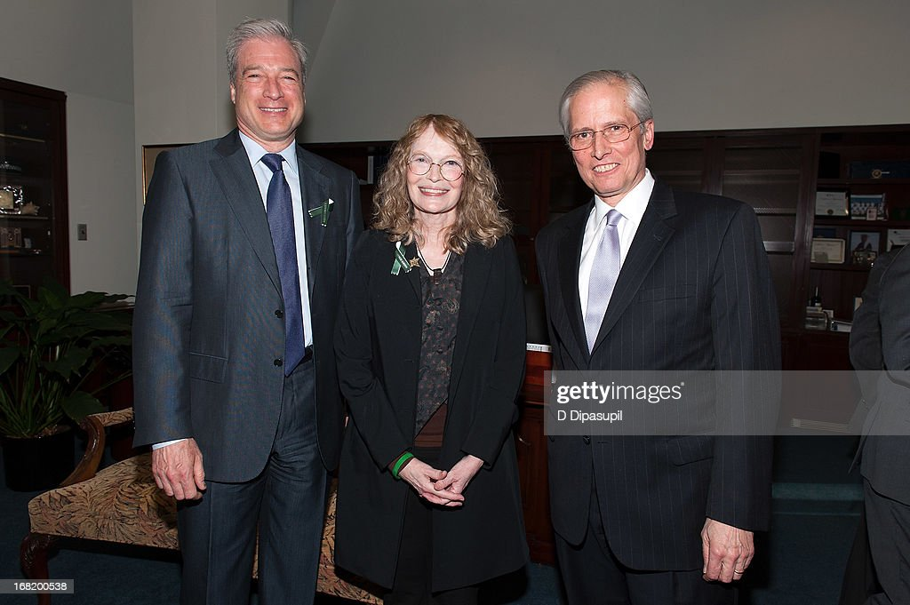 Citizens Crime Commission of New York City president Richard Aborn, <a gi-track='captionPersonalityLinkClicked' href=/galleries/search?phrase=Mia+Farrow&family=editorial&specificpeople=93764 ng-click='$event.stopPropagation()'>Mia Farrow</a>, and John Jay College of Criminal Justice president Jeremy Travis attend the Newtown Memorial Concert at Gerald W. Lynch Theatre on May 6, 2013 in New York City.