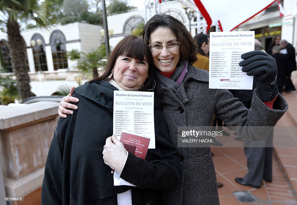 Citizens from Monaco show voting ballots prior they cast their vote on February 10, 2013 as national parliamentary elections are held in Monaco. 24 members of parliament will be elected. AFP PHOTO / VALERY HACHE