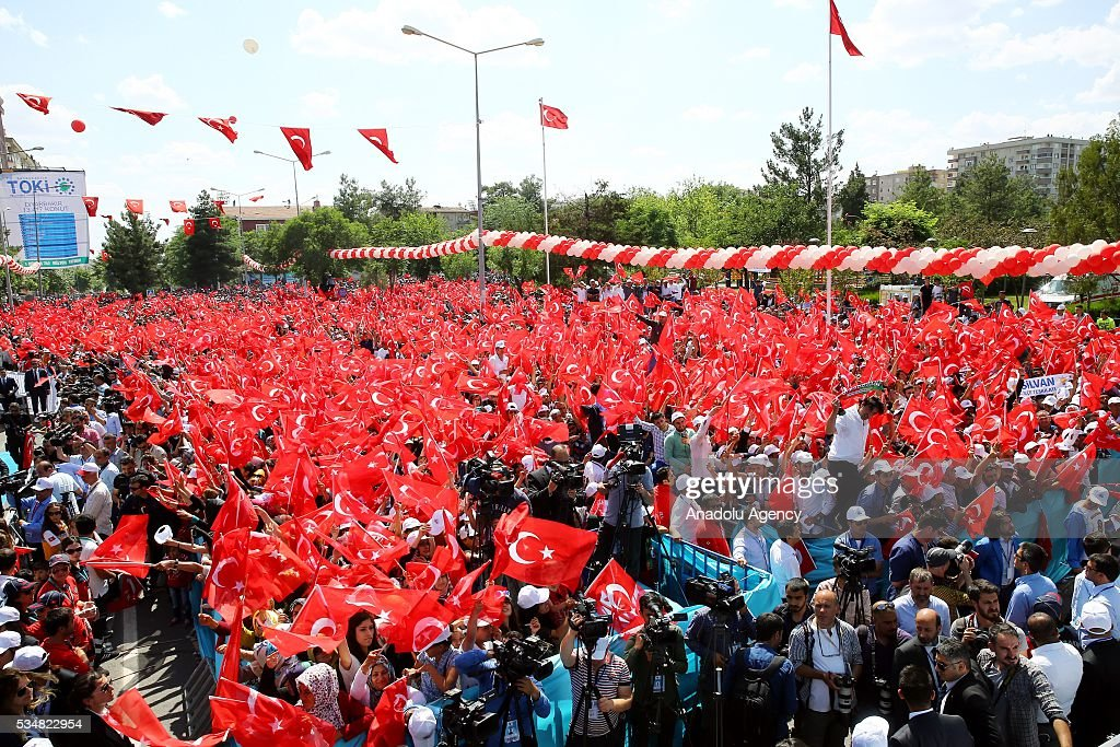 Citizens gather to listen Turkish President Recep Tayyip Erdogan's speech during an opening ceremony in Diyarbakir, Turkey on May 28, 2016.