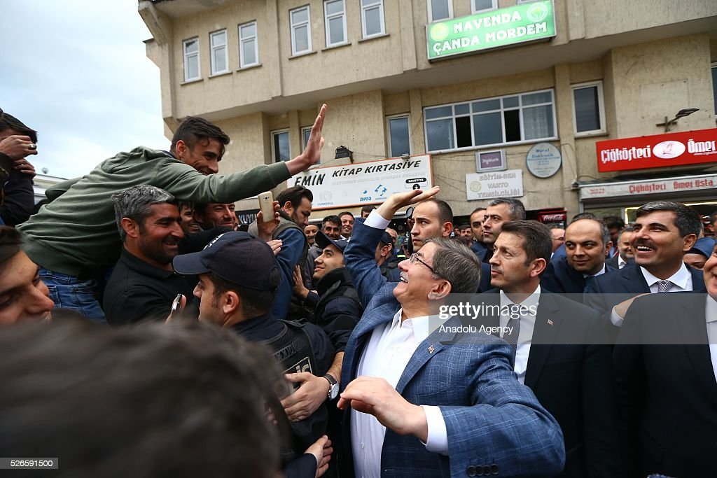Citizens greet Prime Minister of Turkey, Ahmet Davutoglu in Varto district of Turkey's Mus, on April 30, 2016.