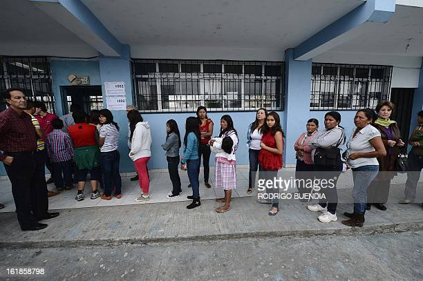 Citizens line up to vote in Quito on February 17 2013 Ecuadoreans began voting Sunday in national elections in which President Rafael Correa is the...