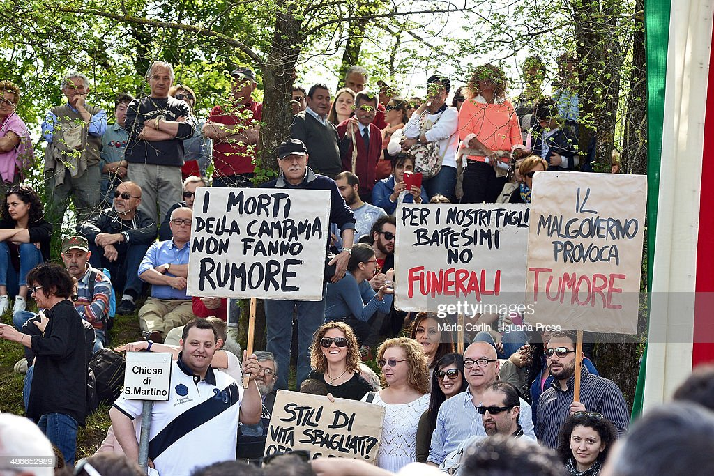 Citizens of Caivano near Naples better known as 'Land of Fires' attend the celebration for the Liberation at Monte Sole di Marzabotto on April 25, 2014 in Bologna, Italy.