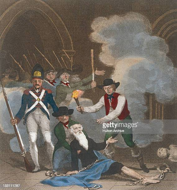 Citizens of Paris and the National Guard rescue an elderly prisoner from the Bastille prison 14th July 1789 The storming and destruction of the...