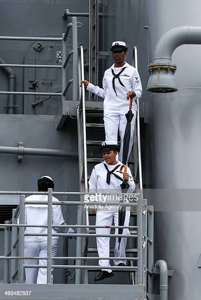 Citizens take a guided tour of the military ships and examine warcrafts tanks within the Fleet Week in New York on May 23 2014 Fleet week which has...