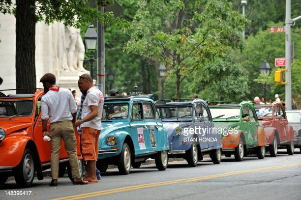 Citroen 2CV cars line a block by Washington Square Park ON July 15 2012 during the 13th Annual Bastille Day Rally and Rendez Vouz of the Greater New...