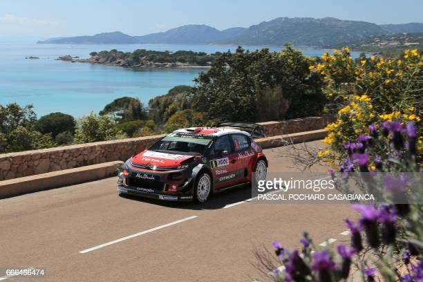 Citroen Abu DhabiTotal WRT team English driver Craig Breen competes in the power stage of the Tour de Corse rally stage of the WRC championships on...