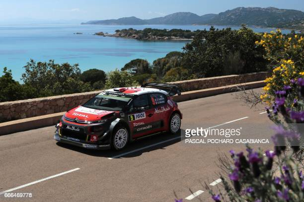 Citroen Abu DhabiTotal WRT team French driver Stephane Lefebvre competes in the power stage of the Tour de Corse rally stage of the WRC championships...