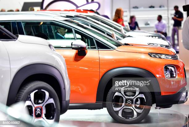 Citroen C3 Aircross cars are seen at the booth of the French carmaker at the Frankfurt Motor Show IAA in Frankfurt am Main western Germany on...