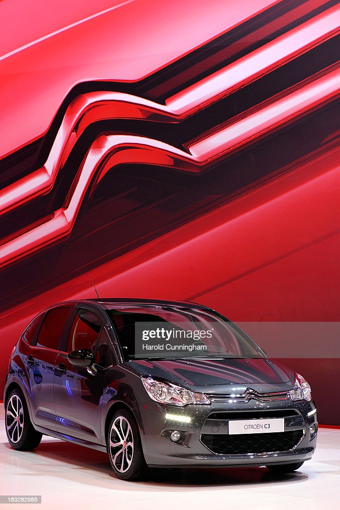 A Citroen C3 is seen during the 83rd Geneva Motor Show on March 6, 2013 in Geneva, Switzerland. Held annually with more than 130 product premiers from the auto industry unveiled this year, the Geneva Motor Show is one of the world's five most important auto shows.